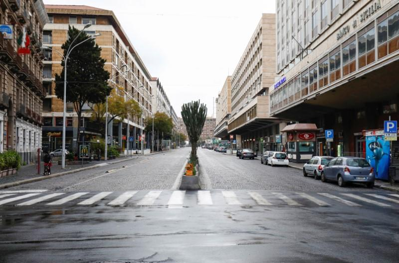 A deserted street is pictured, after Italy reinforced the lockdown measures to combat the coronavirus disease (COVID-19) in Catania