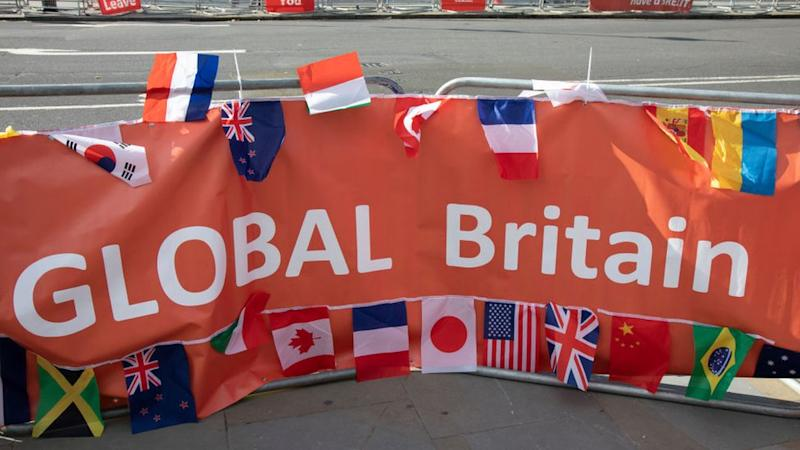 Pancarta de Global Britain.