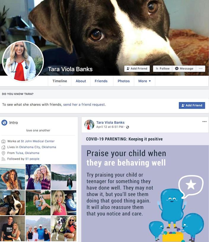 This is the fake account on Facebook that Kaytlin Cupp says she and her friends reported 400 times before it was taken down by Facebook. The impersonating account was luring victims to donate to an illegitimate coronavirus charity account. (Kaytlin Cupp)