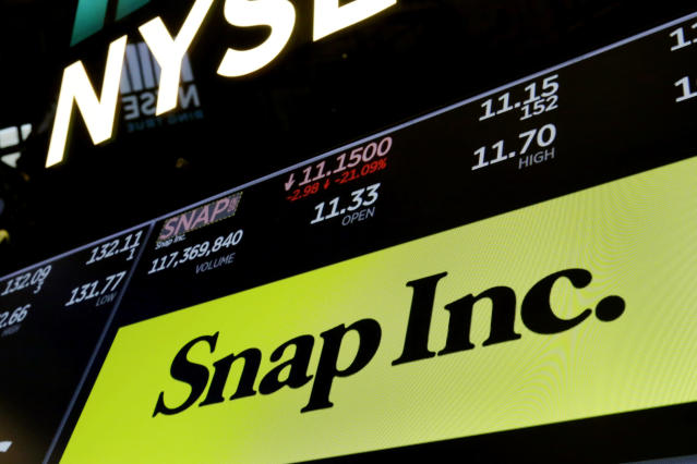 FILE- In this May 2, 2018, file photo the logo for Snap Inc. appears above a trading post on the floor of the New York Stock Exchange. Snap Inc. is getting hit hard in premarket trading after the social media company said its second chief financial officer is leaving, the second to do so in the past year. In a regulatory filing Tuesday, Jan. 15, 2019, the company said Tim Stone is leaving to pursue other opportunities. (AP Photo/Richard Drew, File)