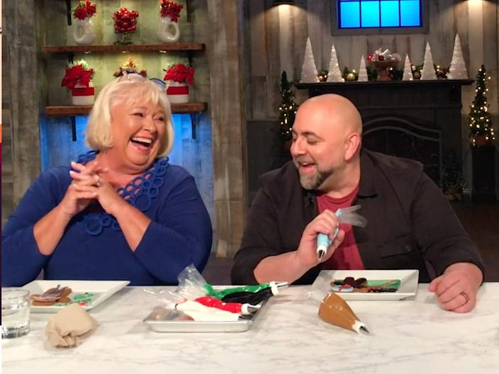 """Nancy Fuller and Duff Goldman are both judges on """"Holiday Baking Championship."""" <p class=""""copyright"""">Food Network</p>"""