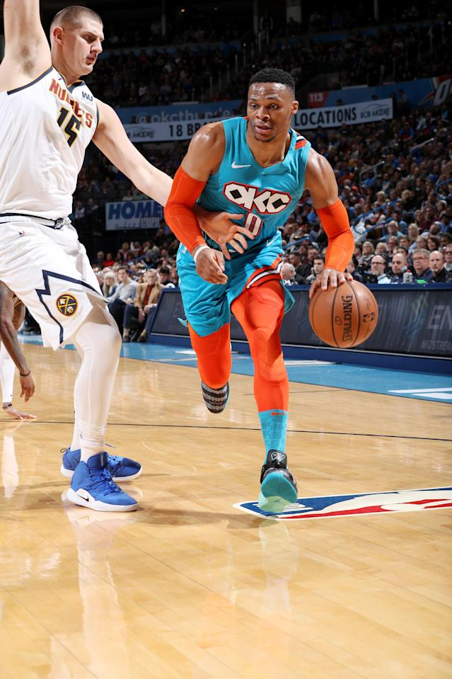 OKLAHOMA CITY, OK- NOVEMBER 24: Russell Westbrook #0 of the Oklahoma City Thunder drives to the basket against the Denver Nuggets on November 24, 2018 at Chesapeake Energy Arena in Oklahoma City, Oklahoma. (Photo by Zach Beeker/NBAE via Getty Images)