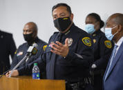 Houston Police chief Art Acevedo announces the department's findings in an April 21 officer-involved fatal shooting of Nicolas Chavez, during a press conference at the Edward A. Thomas building on Thursday, Sept. 10, 2020, in Houston. (Godofredo A. Vásquez/Houston Chronicle via AP)