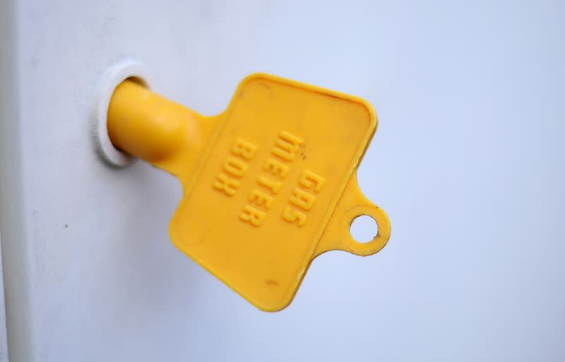 A key is seen in the door of a gas meter cupboard at a house in Manchester