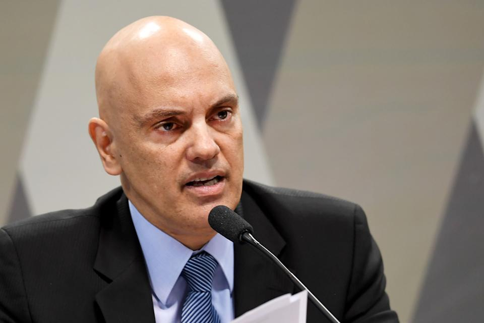 Brazilian Minister of Justice Alexandre de Moraes, appointed by Brazilian President Michel Temer for the Supreme Court, speaks during a confirmation hearing before the Senate's Constitution and Justice Commission in Brasilia on February 21, 2017.  / AFP / EVARISTO SA        (Photo credit should read EVARISTO SA/AFP via Getty Images)