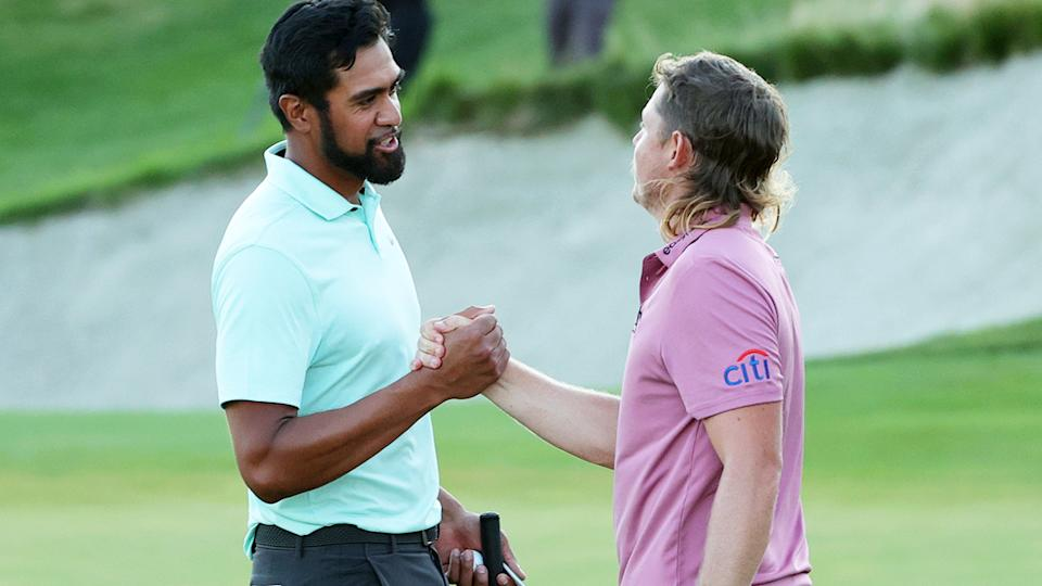 Tony Finau and Cameron Smith, pictured here shaking hands after the first-playoff of the Northern Trust.