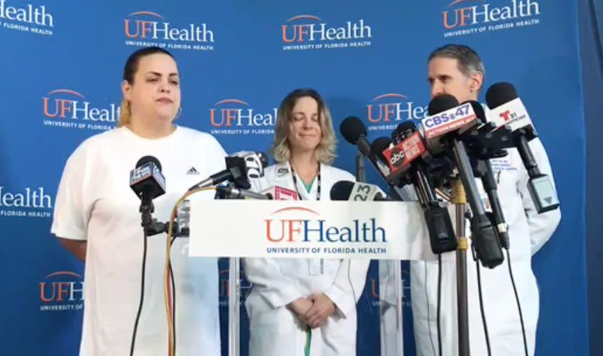 Sujeil Lopez (far left), Timothy Anselimo's mother, speaks at a press conference the day after he was shot at an esports tournament in Jacksonville, Florida, on Aug. 26. (Photo: Facebook)