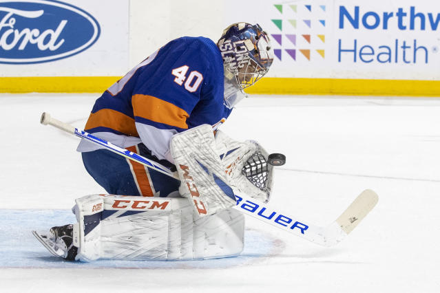 New York Islanders goaltender Semyon Varlamov makes a save during the first period of an NHL hockey game against the Columbus Blue Jackets, Saturday, Nov. 30, 2019, in New York. (AP Photo/Mary Altaffer)