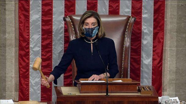 PHOTO: Speaker of the House Nancy Pelosi drops the gavel after the House of Representatives voted to impeach President Donald Trump for a second time, in the U.S. Capitol, Jan. 13, 2021. (House Television)