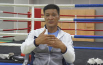 Former Olympic gold medalist Park Si-hun speaks during an interview on Jeju Island, South Korea, Tuesday, July 21, 2020. The last South Korean boxer to win an Olympic gold has spent the past 32 years wishing it was a silver. Park's 3-2 decision win over Roy Jones Jr. in the light-middleweight final at the 1988 Seoul Olympics remains one of the controversial moments in boxing history. Jones had seemed to dominate. (AP Photo/Kim Tong-hyung)