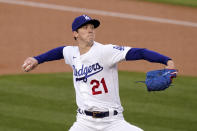 Los Angeles Dodgers starting pitcher Walker Buehler throws to the plate during the first inning of a baseball game against the Arizona Diamondbacks Monday, May 17, 2021, in Los Angeles. (AP Photo/Mark J. Terrill)