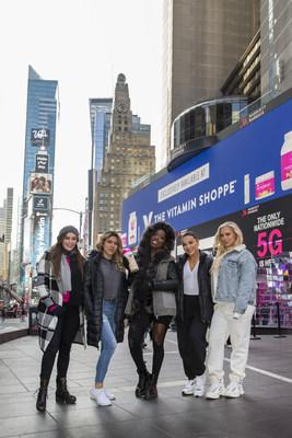 The Vitamin Shoppe and Women's Best launched their partnership with a Times Square billboard with athlete partners including (left to right) Emily Skye, Heba Ali, Brittne Jackson, Krissy Cela, and Tammy Hembrow.