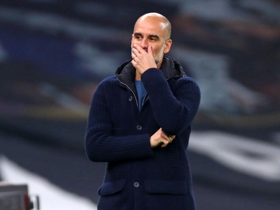 <p>Pep Guardiola looks on in dismay during City's defeat</p>POOL/AFP via Getty Images