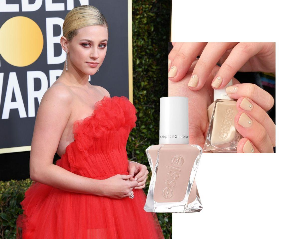 "<p>Neutral manis are a dime a dozen on the red carpet because they're guaranteed to go with everything (and aren't obvious if, god forbid, they somehow chip). But this new beige shade from <a rel=""nofollow"" href=""https://fave.co/2SFQpyB"">Essie</a> somehow looks both fun and classic—and, as Lili Reinhart's nails prove, makes the perfect base for a hint of glitz.<br /><strong>SHOP IT: <a rel=""nofollow"" href=""https://fave.co/2VCKw71"">Ulta, $15.30</a></strong> </p>"