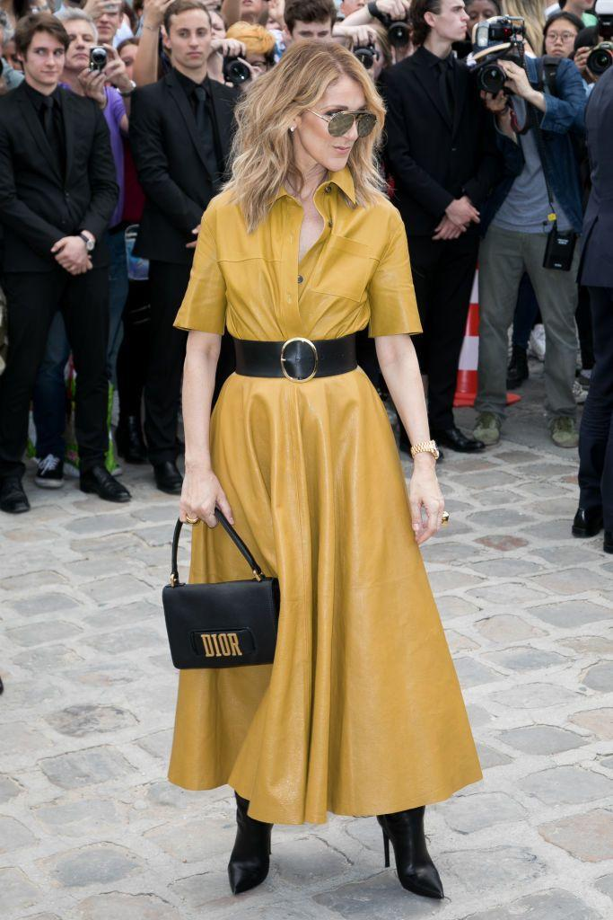 <p>Wearing a yellow leather Dior look and handbag at the fashion house's Fall 2017 couture show in Paris. <br></p>