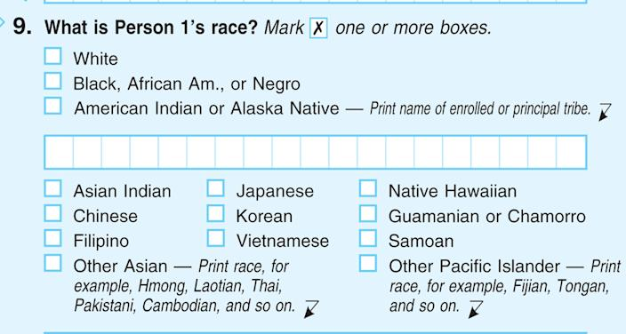 "This handout image obtained by The Associated Press shows question 9: ""What is Person 1's race"", on the first page of the 2010 Census form, with options for White: Black, African Am., or Negro. After more than a century, the Census Bureau is dropping use of the word ""Negro"" to describe black Americans in its surveys. Instead of the term popularized during the Jim Crow era of racial segregation, census forms will use the more modern-day labels, ""black"" or ""African-American"". (AP Photo)"