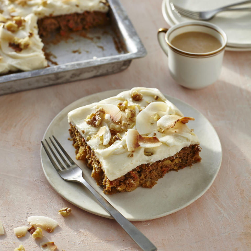 "<p>This moist, delicious carrot cake has traditional ingredients like carrot, pineapple, and walnuts, with the addition of toasted coconut flakes to dress up cream cheese icing. The ease of assembly is the kicker here: a box mix enhanced with fresh ingredients comes together in minutes and is sure to impress guests. </p> <p><a rel=""nofollow"" href=""http://www.myrecipes.com/recipe/carrot-walnut-coconut-sheet-cake"">Shortcut Carrot Sheet Cake Recipe</a></p>"