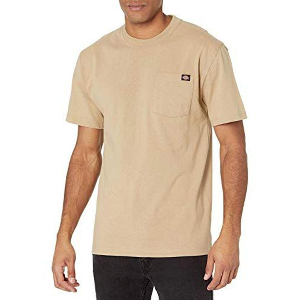 """<p><strong>Dickies</strong></p><p>amazon.com</p><p><a href=""""https://www.amazon.com/dp/B00B6EDXTE?tag=syn-yahoo-20&ascsubtag=%5Bartid%7C2139.g.36477804%5Bsrc%7Cyahoo-us"""" rel=""""nofollow noopener"""" target=""""_blank"""" data-ylk=""""slk:BUY IT HERE"""" class=""""link rapid-noclick-resp"""">BUY IT HERE</a></p><p><del>$20.00</del><strong><br>$14.99</strong></p><p>Flex this Dickies tee just about anywhere this summer for effortlessly cool style. <br></p>"""
