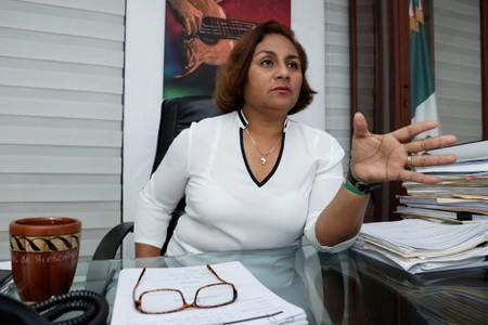 Griselda Martinez, mayor of Manzanillo for the MORENA ruling party, attends an interview with Reuters at her office in Manzanillo