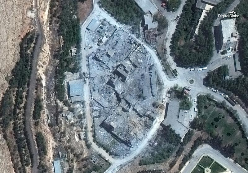 This satellite image, taken Monday morning, shows the Barzah Research and Development Center in Damascus after it was struck by coalition forces on Friday.