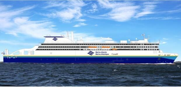 An artist's rendering shows Marine Atlantic's new passenger ferry to be constructed by the Swedish firm Stena North Sea Ltd. The Canadian Crown corporation says it will be testing the vessel during a five-year lease period.  (Submitted by Marine Atlantic - image credit)