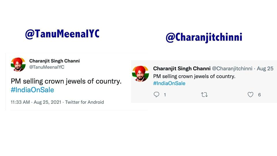 """<div class=""""paragraphs""""><p>Left: Tweet shared by '@TanuMeenaIYC'. Right: Tweet shared by 'Charanjitchinni'.</p></div>"""