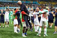 Switzerland players celebrate their win over France in Bucharest