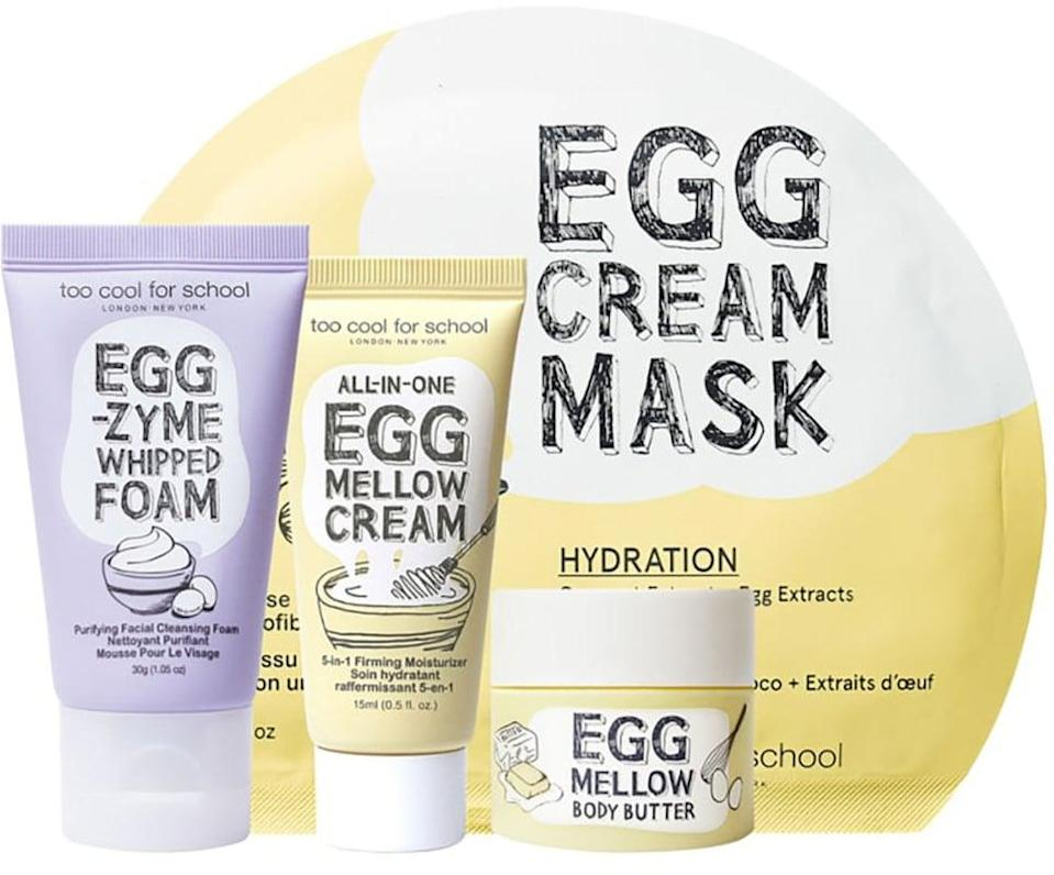 <p>Keep their skin in check with this <span>Too Cool For School Egg-ssential Skincare Mini Set</span> ($16).</p>