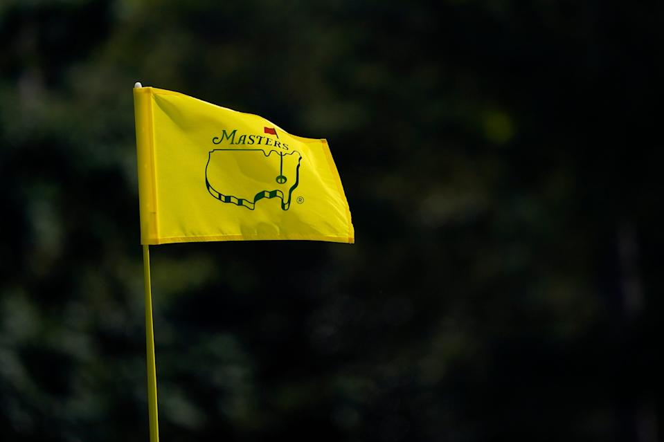 The Masters flagstick on the 17th green during a practice round at Augusta National Golf Club.