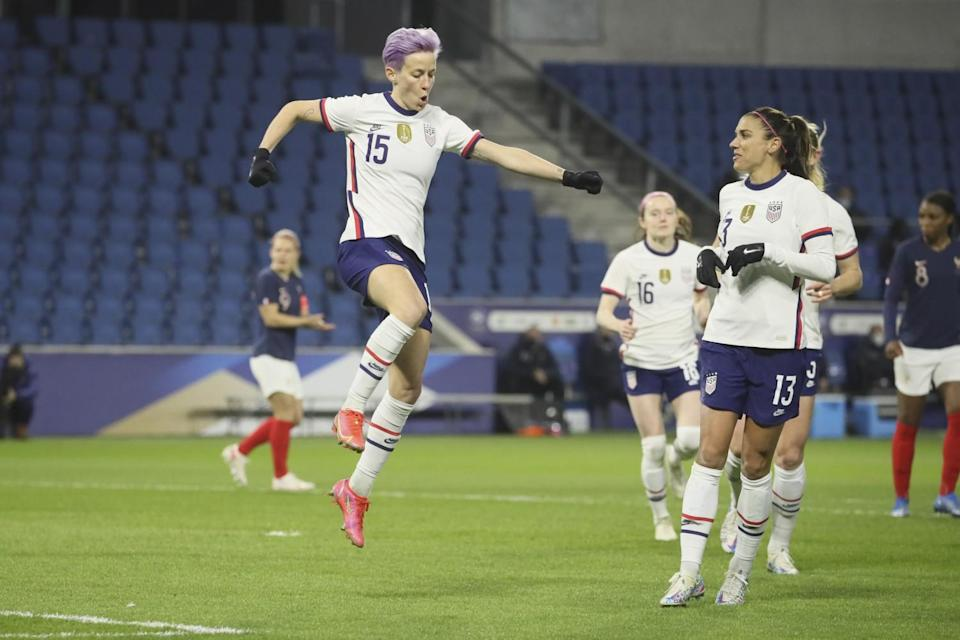 United States' Megan Rapinoe (15) leaps into the air after scoring on a penalty kick