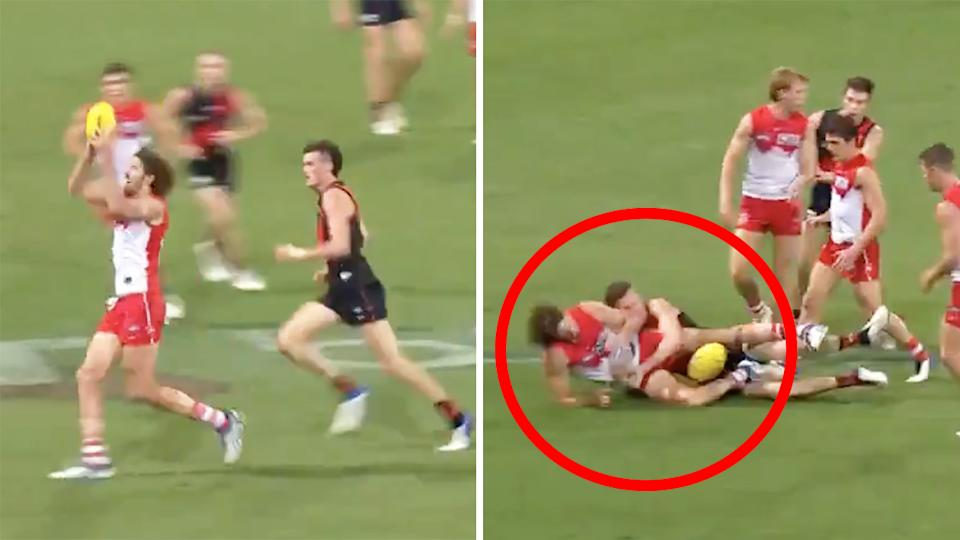 The decision not to pay a free kick against Swans ruckman Tom Hickey after grabbing the ball from the ruck has caused controversy among some footy fans. Pictures: 7AFL