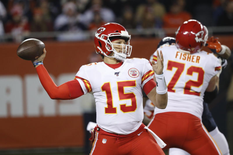 Kansas City Chiefs quarterback Patrick Mahomes (15) throws against the Chicago Bears in the first half of an NFL football game in Chicago, Sunday, Dec. 22, 2019. (AP Photo/Charles Rex Arbogast)
