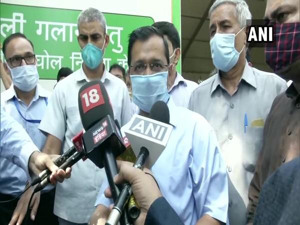 Delhi Chief Minister Arvind Kejriwal speaking to media on Tuesday. (Photo/ANI)
