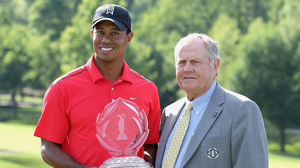 Pictured here, Tiger Woods and Jack Nicklaus.