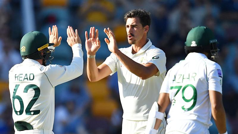 Seen here, Mitchell Starc's two late wickets have Australia well placed to win the first Test.