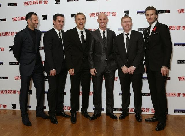 Phil Neville (third from left) says Stiles taught the 'Class of 92' how to be United players (Yui Mok/PA).