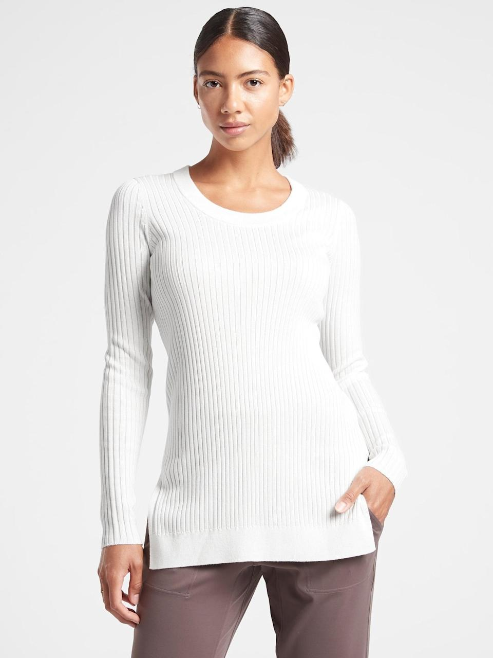 <p>The flattering <span>Athleta Lincoln Park Sweater</span> ($78, originally $98) comes in so many cute colors.</p>