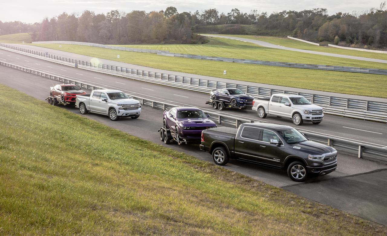 <p>In 2017, Americans bought more full-size pickups than people did new vehicles, period, in all but the three largest markets in the EU.</p><p>We buy an outrageous number of these things-about 2.3 million that year alone. But here's a theory: We don't buy pickups in these quantities because we are more productive than our beret-wearing brothers across the Atlantic.</p><p>It's not that we have so many more contractors, farmers, and tradespeople who need pickups. It's that Americans have more toys. It's estimated that 50 to 60 percent of the world's pleasure craft are sold here, as are more than 40 percent of the world's snowmobiles. Boats need to get to the lake, and snowmobiles to the trail. And few of the cars that race at the country's 1339 drag strips, road courses, and ovals drive there themselves. Americans need these workhorses for weekend duty, but that doesn't mean we want them to clomp around like Clydesdales. That's why each of the examples here is its respective maker's highest-trim, daily-use crew-cab model.</p>