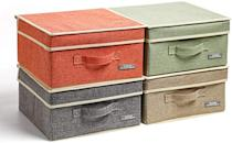 <p>Store albums and containers in these chic <span>YueYue Small 4 Pack Linen Stroage Box with Lids</span> ($34). It comes in so many different colors you'll find the perfect one for your home.</p>