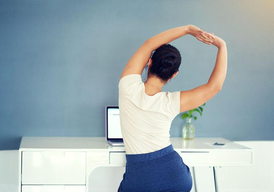"""<p>If you've been working from home, you're probably familiar with The Slump. """"Improper posture can lead to a myriad of problems down the road,"""" says <a href=""""https://ridgedavis.com/"""" rel=""""nofollow noopener"""" target=""""_blank"""" data-ylk=""""slk:Ridge Davis"""" class=""""link rapid-noclick-resp"""">Ridge Davis</a>, a certified personal trainer in Los Angeles. He recommends exercises that will strengthen your upper-back muscles (to keep your shoulders pulled back), glutes (to avoid an anterior pelvic tilt, which can cause lower back pain) and core (to hold it all together).</p>"""