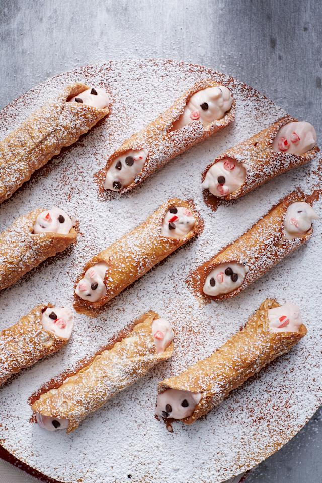 """<p>Take the traditional Sicilian cannoli, a pastry with a crispy outer shell and dreamy cream filling, and give it holiday flair with chopped peppermint candy. This dish is very simple, though it does require a cannoli tube to shape the shell. Try our flavor variations, including Eggnog, Rugelach, or Orange-Pistachio for a one-of-a-kind dish at your next holiday gathering,</p> <p><a href=""""https://www.myrecipes.com/recipe/peppermint-cannoli"""">Peppermint Cannoli Recipe</a></p>"""