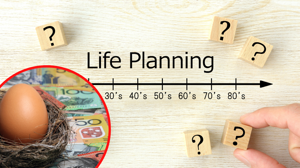 A nest egg sitting on a background of Australian money and a chart indicating life planning.