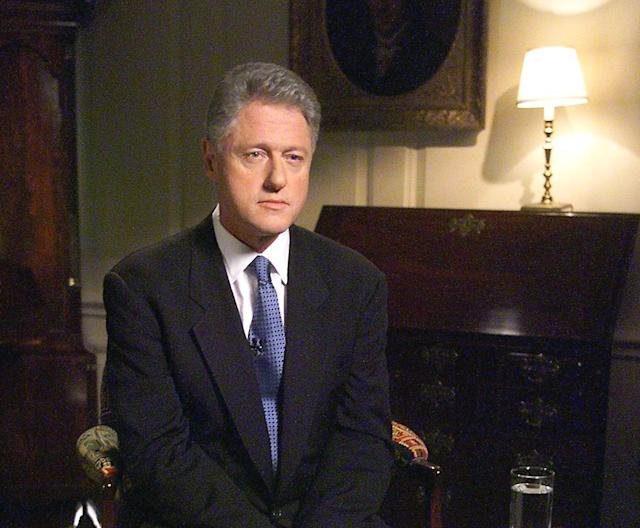 President Bill Clinton in the White House on Aug. 17, 1998, before delivering a televised address regarding his testimony earlier that day to a grand jury about his involvement with former White House intern Monica Lewinsky. (Photo: Luke Frazza/AFP via Getty Images)