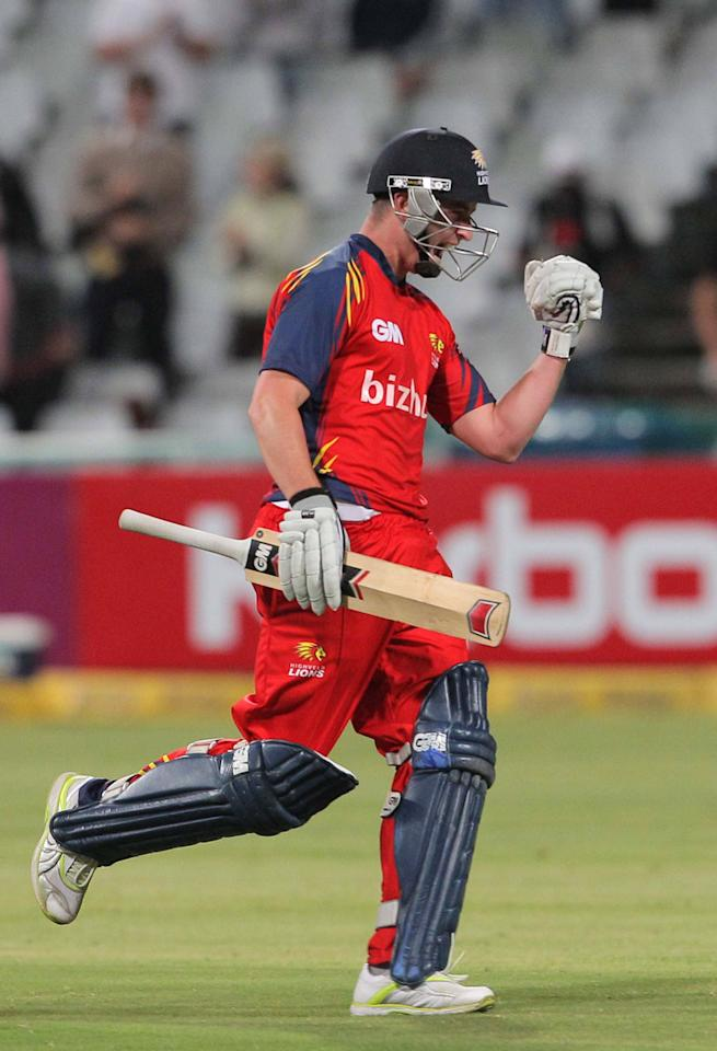 CAPE TOWN, SOUTH AFRCA - OCTOBER 16:  Jean Symes of the Highveld Lions celebrates during the Karbonn Smart CLT20 match between Chennai Super Kings (IPL) and Highveld Lions (South Africa) at Sahara Park Newlands on October 16, 2012 in Cape Town, South Africa.  (Photo by Carl Fourie/Gallo Images/Getty images)