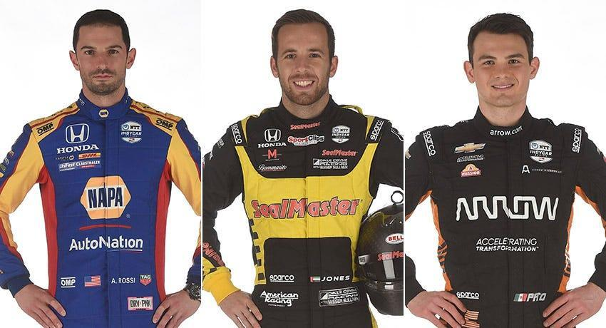 Alexander Rossi (from left), Ed Jones and Pato O'Ward, Row 4 for the 2021 Indianapolis 500.