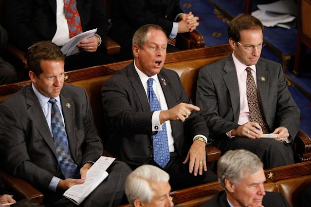 Rep. Joe Wilson, R-S.C., interrupts as President Obama addresses a joint session of Congress, Sept. 9, 2009. (Photo: Chip Somodevilla/Getty Images)