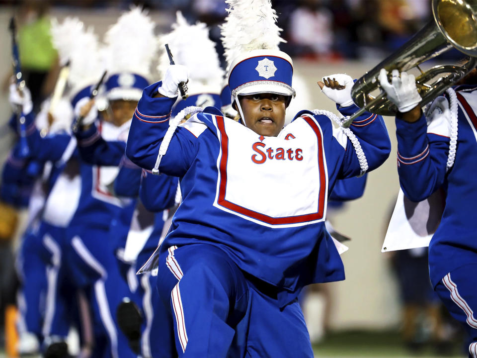 Members of the Tennessee State band perform at halftime of the team's Southern Heritage Classic NCAA college football game against Jackson State in Memphis, Tenn., Saturday, Sept. 11, 2021. (Patrick Lantrip/Daily Memphian via AP)
