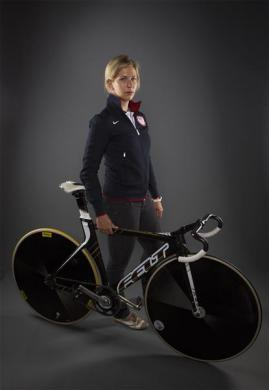 Cyclist Sarah Hammer poses for a portrait during the 2012 U.S. Olympic Team Media Summit in Dallas, May 13, 2012.