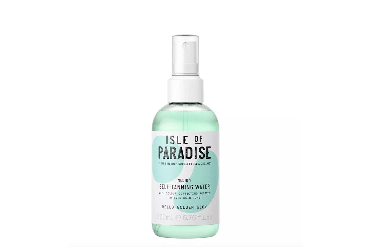 """<p>This lightweight water formula has a buildable color payoff, dries quickly, and leaves a natural-looking tan behind. Those in search of a paraben-, sulfate-, and cruelty-free formula will love this easy-to-use spray. </p> <p><strong>Buy:</strong> $28, <a href=""""https://click.linksynergy.com/deeplink?id=93xLBvPhAeE&mid=2417&murl=https%3A%2F%2Fwww.sephora.com%2Fproduct%2Fself-tanning-water-P431181%3FskuId%3D2078376&u1=SL%2CRX_1907_IsleofParadiseSelf-TanningWater_Self-Tan%2Crogersc%2C%2CIMA%2C620120%2C201907%2CI"""" target=""""_blank"""">Sephora.com</a> </p>"""
