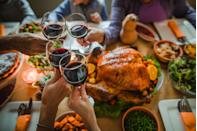 """<p>A twist on the popular """"everybody say what you're thankful for,"""" encourage each guest around the table to stand up and make their own Thanksgiving toast reflecting on the previous year. Here are some <a href=""""https://www.oprahmag.com/life/g28721147/thanksgiving-quotes-blessings/"""" rel=""""nofollow noopener"""" target=""""_blank"""" data-ylk=""""slk:Thanksgiving quotes"""" class=""""link rapid-noclick-resp"""">Thanksgiving quotes</a> to get everyone started.</p>"""